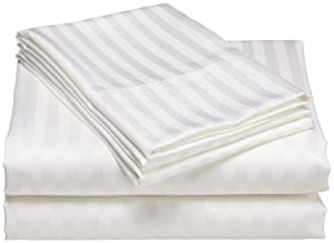 600 Thread Count Striped Sheets for Bed -100% Long Staple Egyptian Cotton, Woven 600 TC Stripe King White 4 Piece Bedding Set Hotel Quality, OekoTex Certified