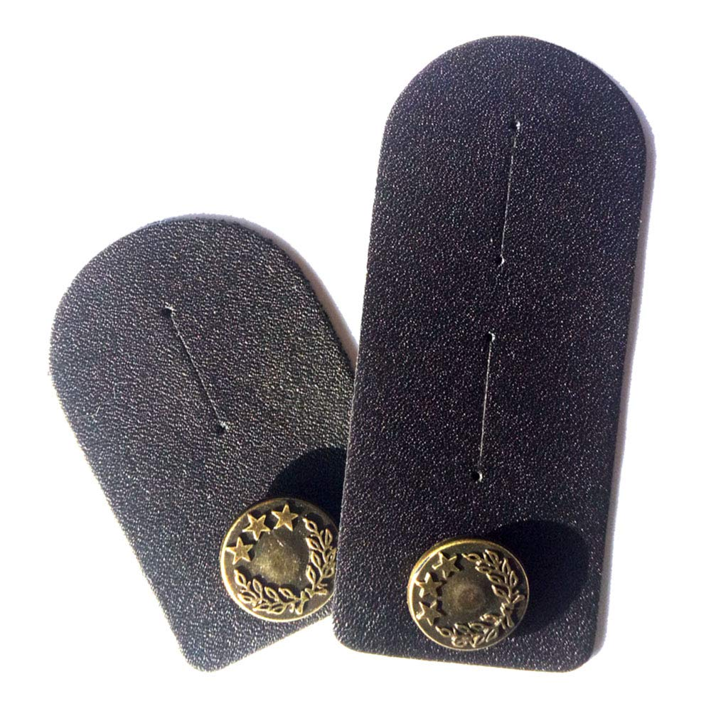 Waist Extender Set of 2 for Men or Women (Black) with Bronze Button for Jeans, Pants, Skirts or Shorts PIGEKK