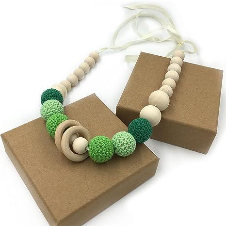 Coskiss Verde Collares de ganchillo Collar de dientes de bebé Collar de dentición seguro con juguete de madera natural orgánica Mamá Collar de dientes ...
