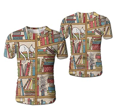 Stylish Mens Book Kitty Bookshelf Shirts Realistic 3D Digital Short Sleeve T For Boys