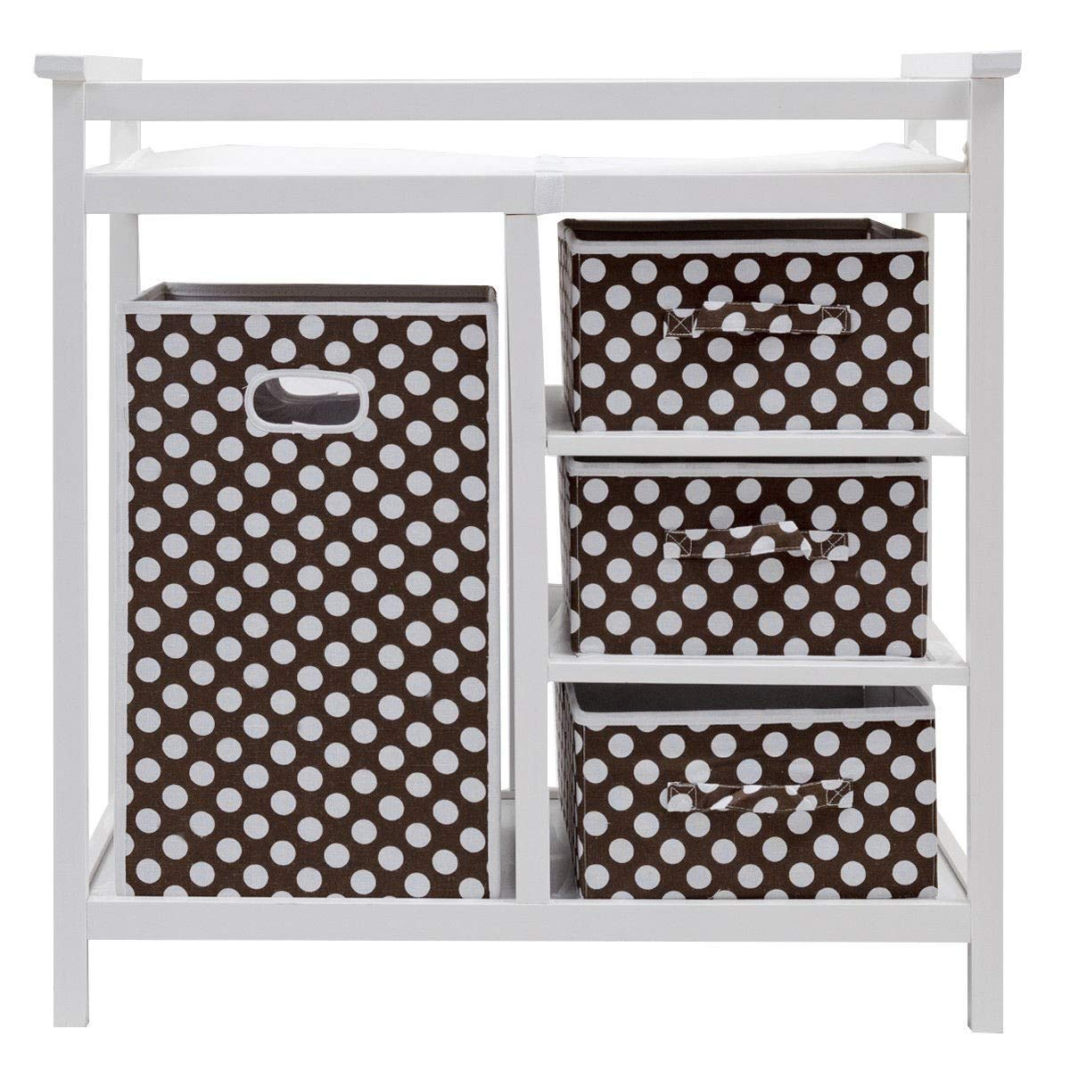 Modern Baby Changing Table with Hamper Diaper and Pad,BestComfort Infant Changing Table with 3 Baskets White