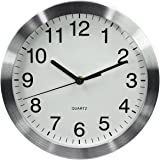 MAGHO Big Digit Large Decorative Wall Clock - Quartz Sweep - Glass Cover - 10 Inch Round Aluminum Frame - Battery Operated - White Face