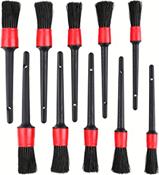 5 Different Sizes Fiber Plastic Handle Automotive Detail Brushes Emblems Exterior Yesland 10 Pieces Detailing Brush Set for Cleaning Wheels Dashboard Interior Leather Air Vents