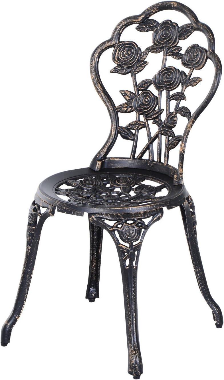 Outsunny Set 3 Pezzi Tavolo e Due Sedie da Giardino in Stile r/étro con Decorazioni Floreali Color Bronzo