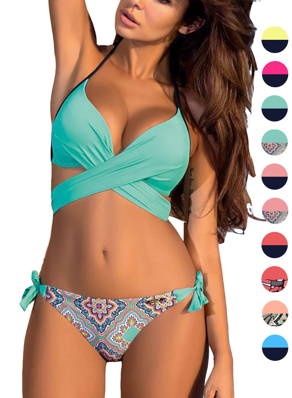 ACHICGIRL Women's Fashion Bandage Side Tie Bikini Set (Sky BlueΜlti, L)
