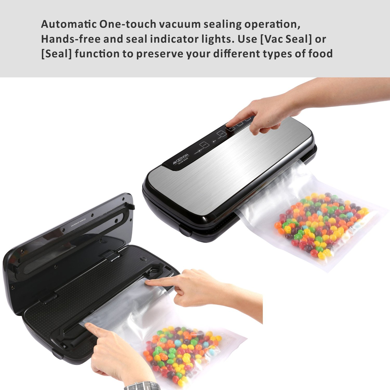 GERYON Vacuum Sealer, 4-in-1 Automatic Food Sealers with Starter Kit of Saver Roll, Bags and Hose for Food Preservation (Stainless Steel) by GERYON (Image #3)