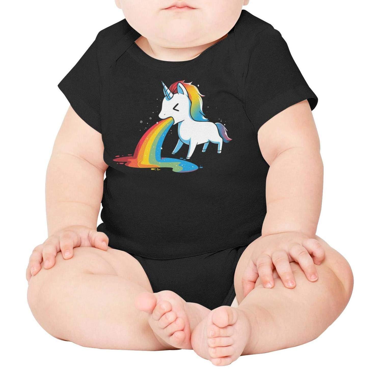 Unisex Baby Short Sleeve Onesies Unicorn Puke Rainbow Cotton Bodysuit Crew Neck 3-24 Months