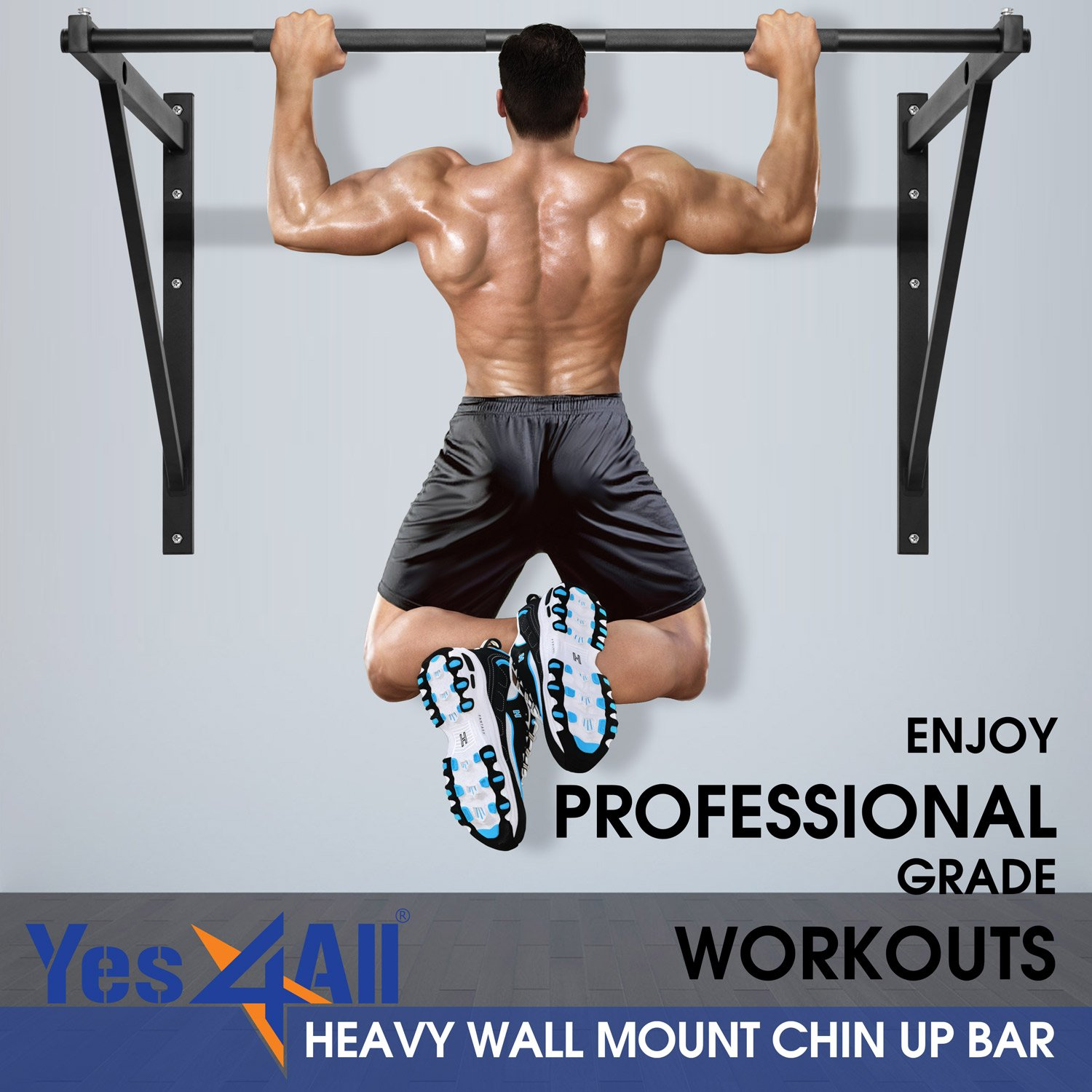 Yes4All Heavy Duty Wall Mounted Pull-Up//Chin-Up Bar Support up to 500 lbs /& Easy Installation