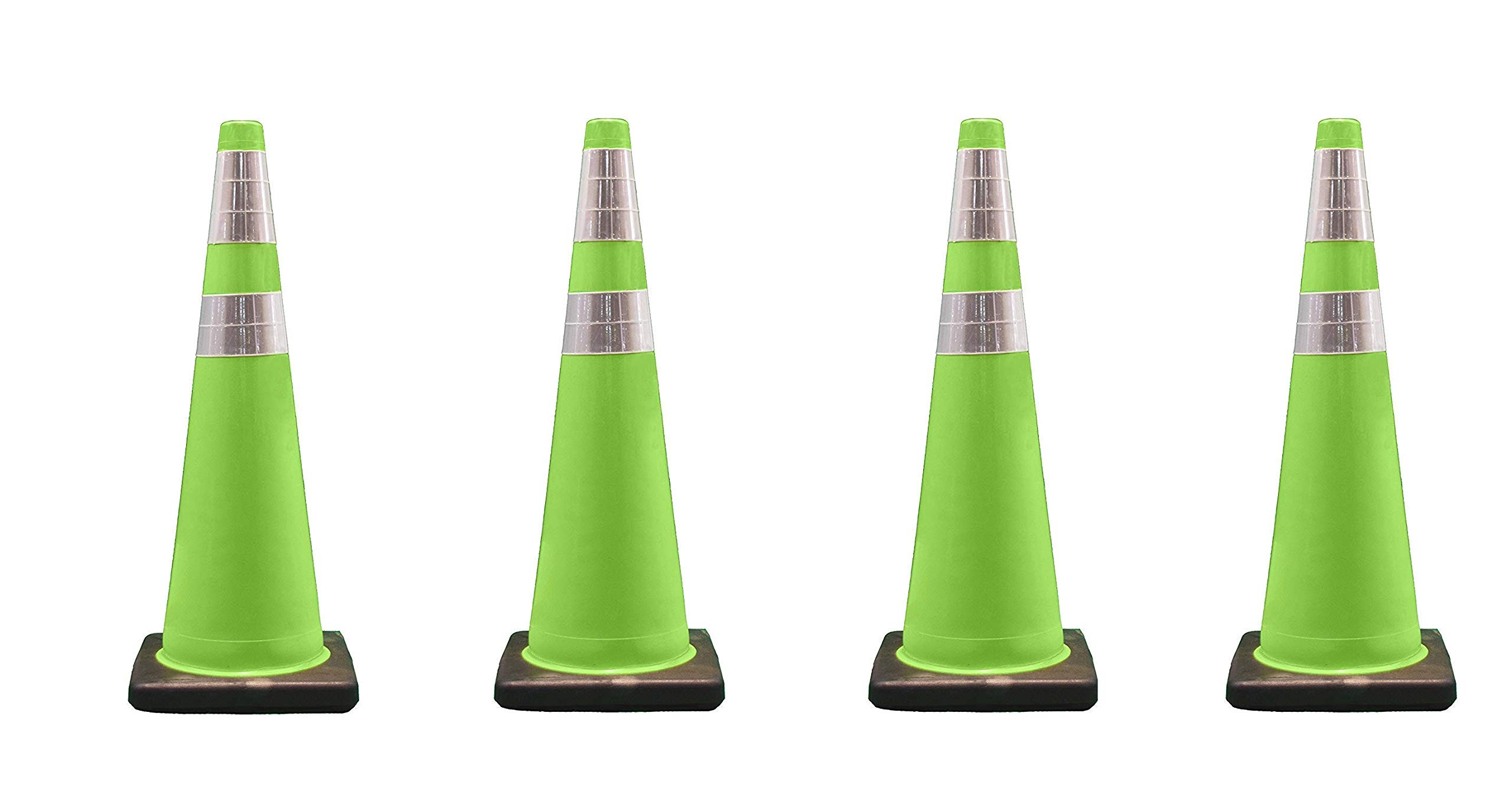 Cortina Traffic Cone, PVC Black Base and 6'' Upper/4'' Lower Reflective Collar 03-500-06LI, 36'' Height, Fluorescent Green (Pack of 4)
