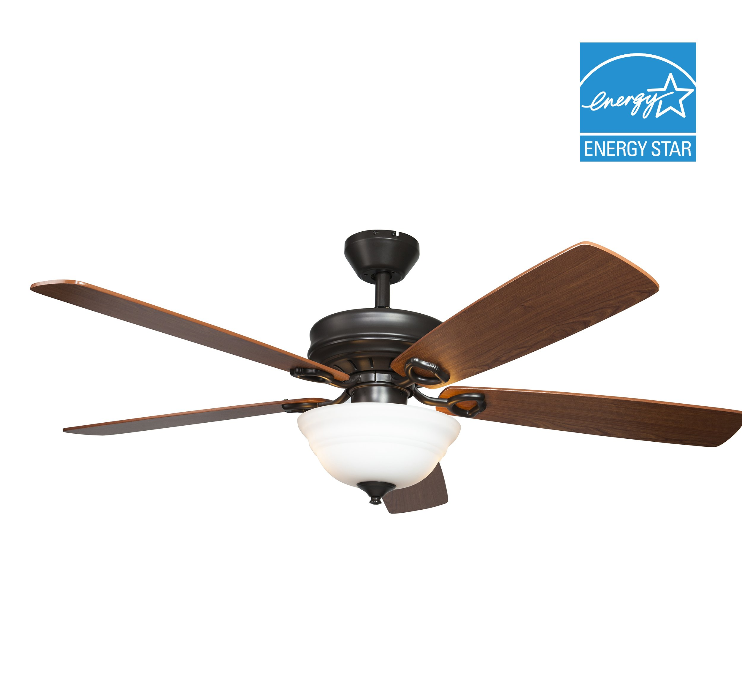 Hyperikon Indoor Ceiling Fan with Remote Control - 52-inch Wood Ceiling Fan, Energy Star - Black Fixture with Five Brown Blades and Frosted Dome Light - Bulb Not Included