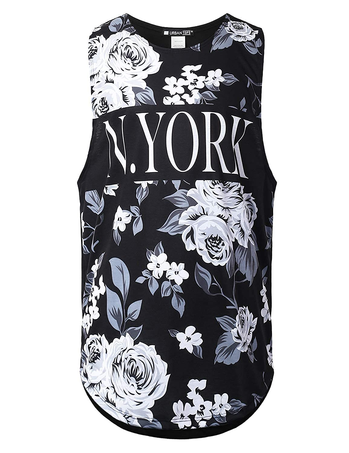 5c98e93806a0f0 Amazon.com  URBANTOPS Mens Hipster Hip Hop Floral Graphic Muscle Tank Tops  (Various Prints)  Clothing