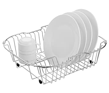 Sink Dish Drying Rack Stainless Steel Dish Drainer Organizer Over Sink Or  On Counter For Drying