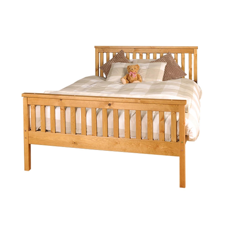 Comfy Living 5ft King Atlantis Style Wooden Pine Bed Frame in Caramel