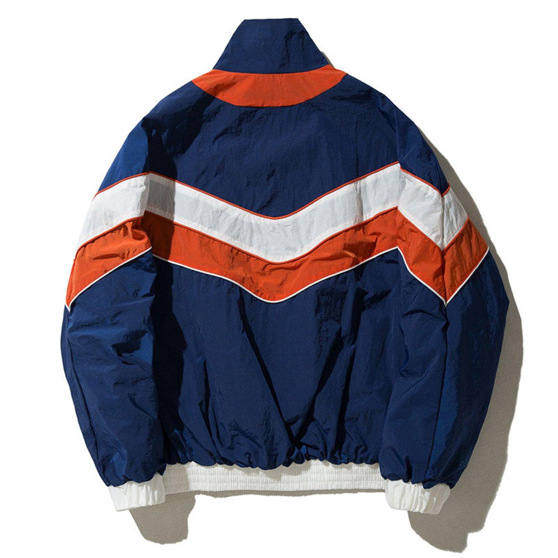 9c530162b544 Coac3 Men Vintage Multicolor Color Block Patchwork Windbreaker Jackets Hip  Hop Streetwear Zip Up Track Casual Jackets at Amazon Men s Clothing store