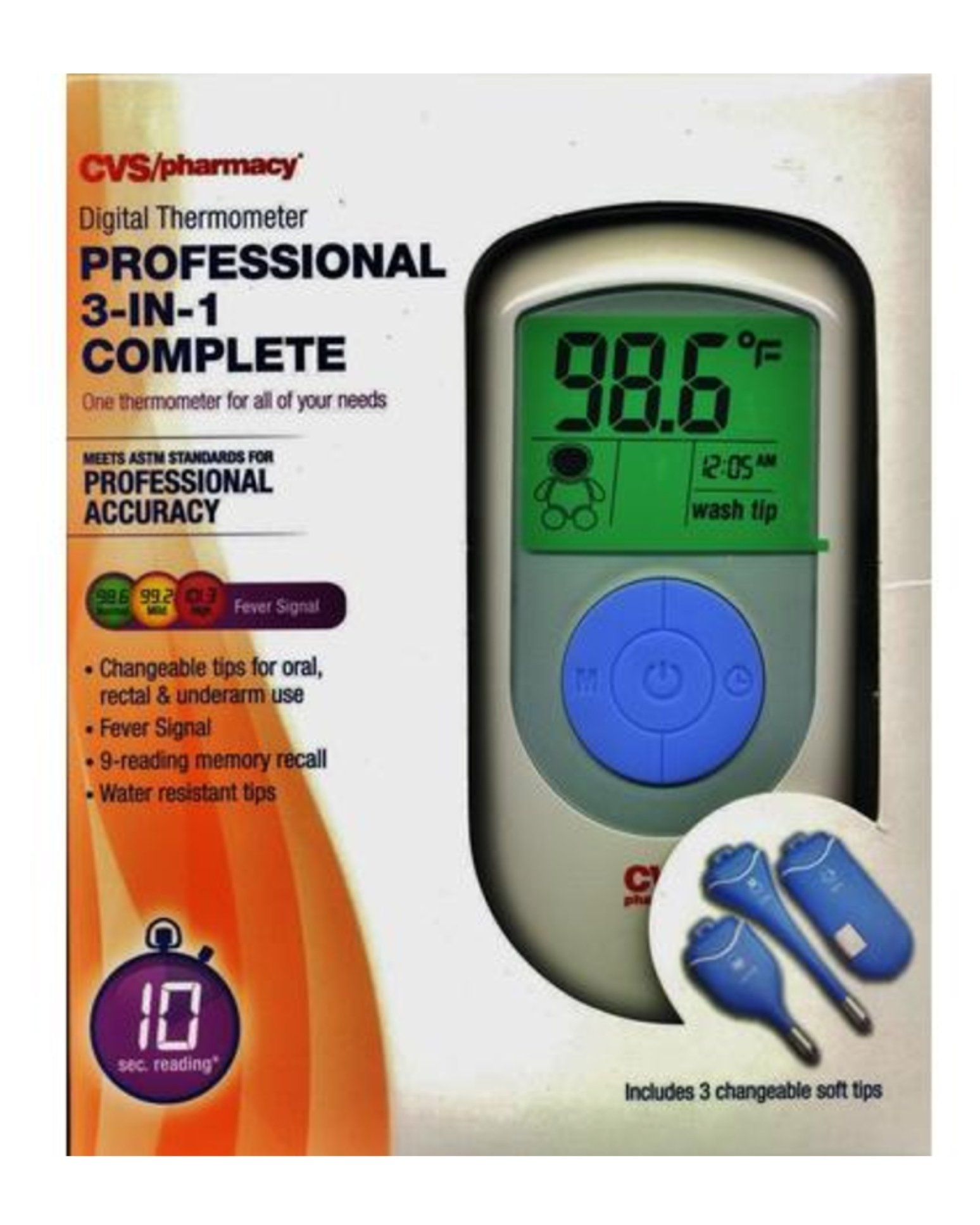 10 Second Reading, Number 1 Hospital Choice, CVS Digital Thermometer Professional 3-in-1 Complete Oral, Rectum, Underarm