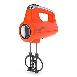 BLACK+DECKER MX600TR Helix Performance Premium 5-Speed Hand Mixer 5 Attachments + Case Tangerine