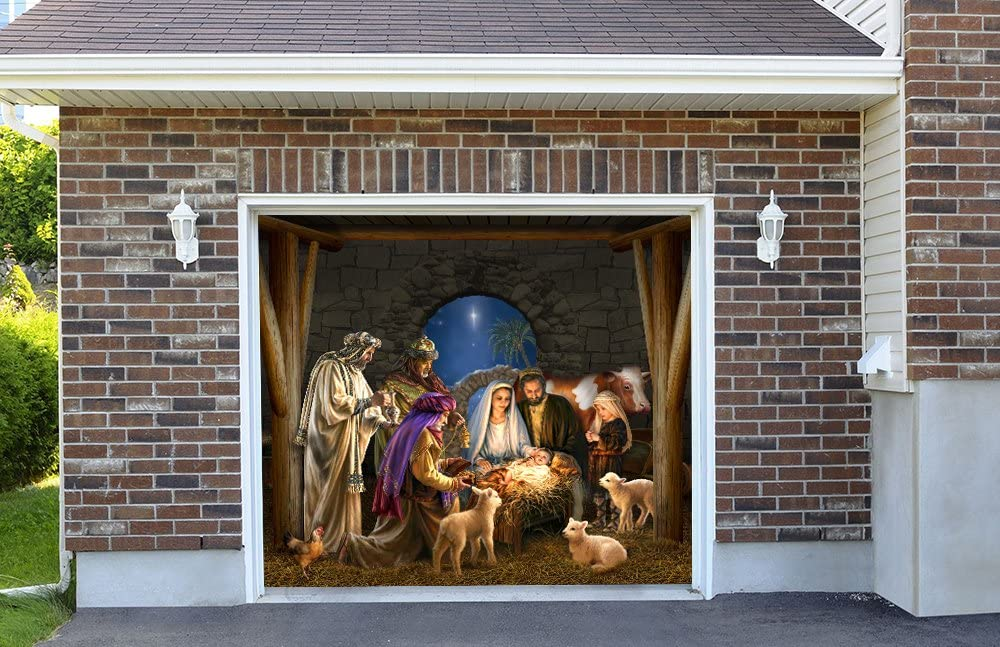 Creative Mind Designs Outdoor Decoration Nativity Scene Christmas Holiday Home Garage Door Decor Banner Billboard Decoration 7' x 8'
