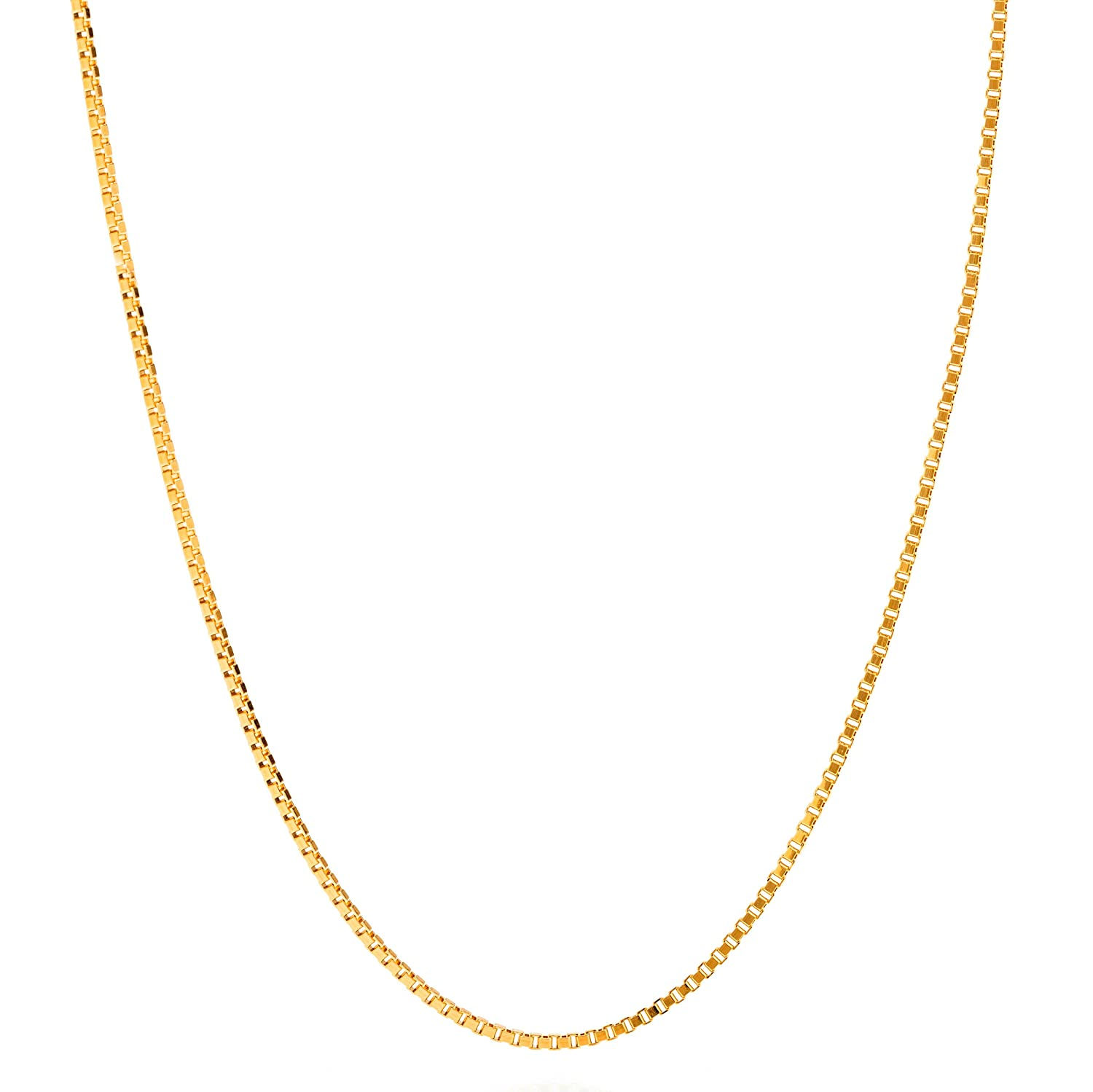 Lifetime Jewelry Gold Necklaces for Women & Men [ 1.4mm Box Chain Necklace ] Up to 20X More 24k Real Gold Plating Than Other Necklace Chain - Pendant Necklace with Free Lifetime Replacement Guarantee Lifetime Products Group 53A