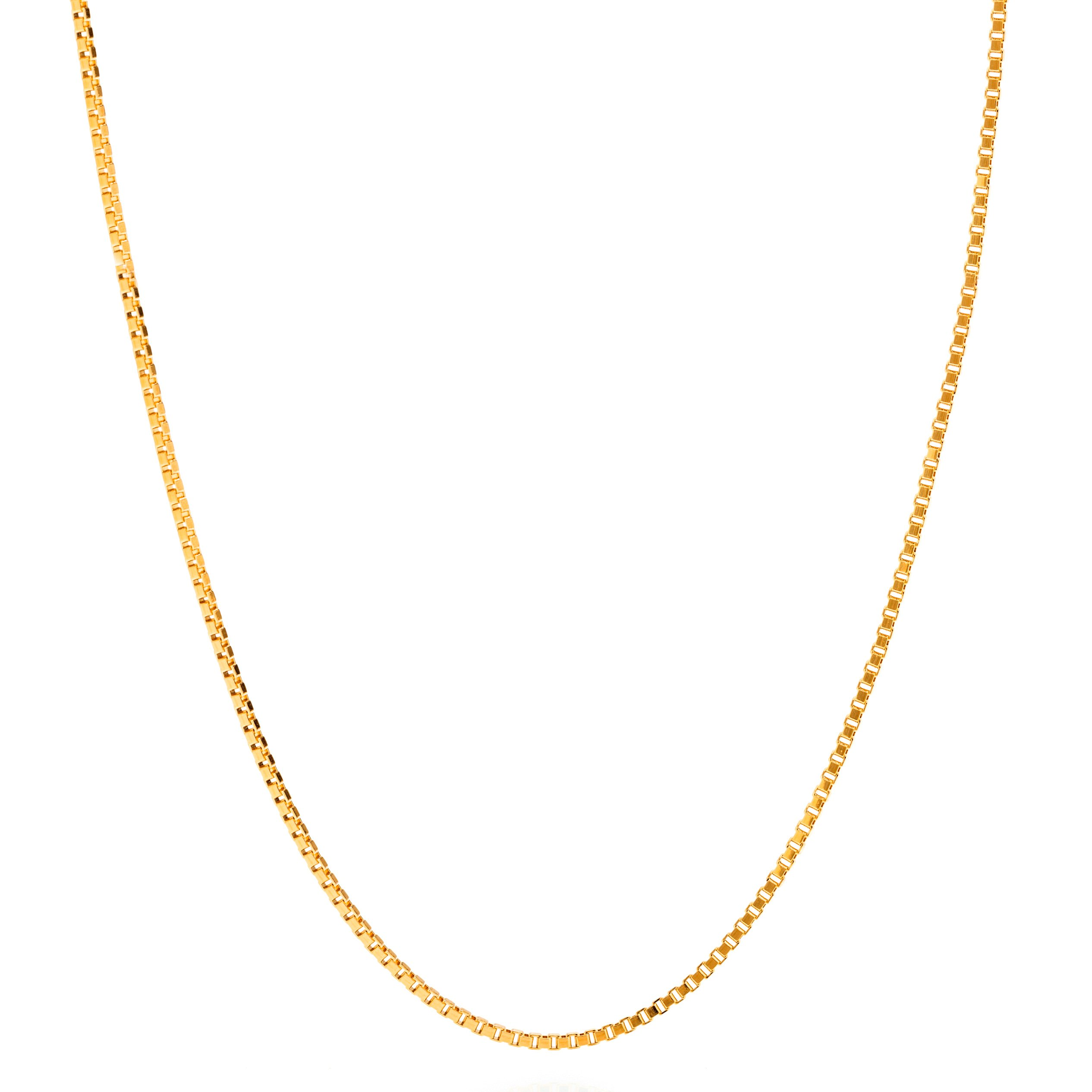 Lifetime Jewelry Box Chain 1.4 mm Pendant Necklace 24K Gold Plated - Made Thin For Charms - Comes in Pouch For Easy Gift Giving 20 Inches