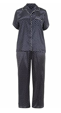 419edcf130 Navy Polka Dot Satin Pyjama Set PJs. PLUS Sizes 14-32: Amazon.co.uk ...