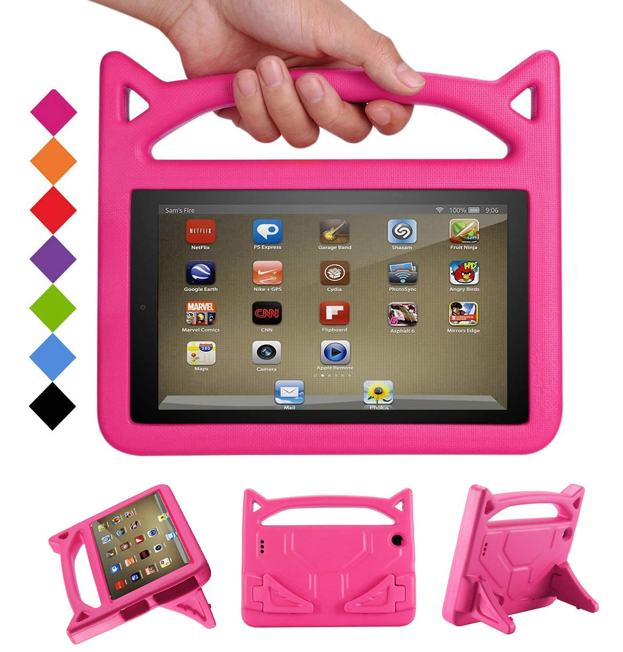 F i r e 7 Tablet Case - Bromee Light Weight EVA Shock Proof Handle Friendly Folodable Stand Kids Case for F i r e 7 Inch Display Tablet(Compatible with 7th Generation & 5th Generation) - Pink by Bromee