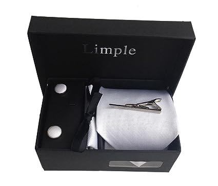 [Limple] ネクタイ 4点セット 白 ホワイト [ネクタイ / ネクタイピン / チーフ