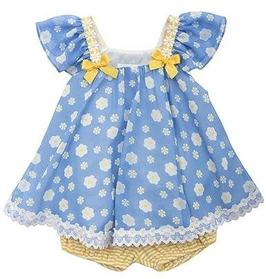 d2d5212b8b40 Rare Editions Baby Girls  Daisy Chiffon Dress Set 24 Months Blue ...