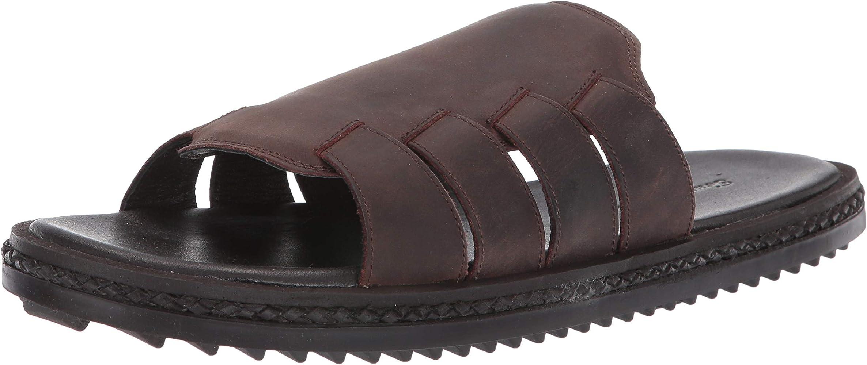 Tommy Bahama Gennadi Palms Mens Brown Leather Slides Slip On Sandals Shoes 7