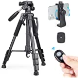Camera Tripod Lightweight Travel Tripod, INNOREL RT10 55.9inch Aluminum Tripod with 2 Quick Release Plates and Phone…