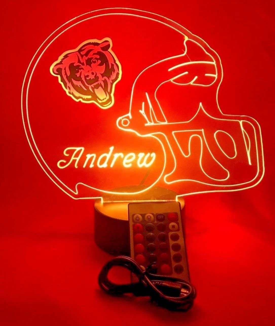Amazon.com: Chicago Bears NFL Light Up Lámpara De Luz ...