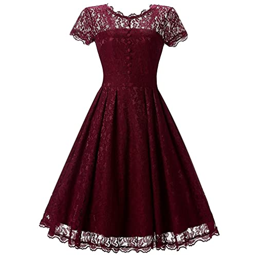 OLIPHEE Womens Vintage 1950s Lace Overlay Double Layer Knee Length Skater Swing Dresses