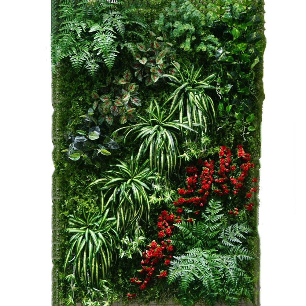 WENZHE 人工 フェイクアイビー 緑の植物のシミュレーション 壁掛け式 インドア アウトドア 背景壁 ホーム 装飾品 フェードしないでください いいえ、いいえ、 0.96㎡ (色 : マジックグレー、カーキ) B07D8MDXV9 マジックグレー、カーキ マジックグレー、カーキ