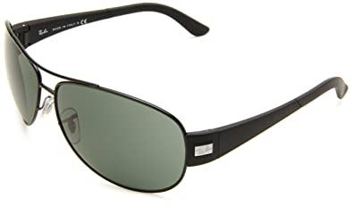 c592991d61a Amazon.com  Ray-Ban RB3467 - MATTE BLACK Frame GREEN Lenses 63mm Non ...
