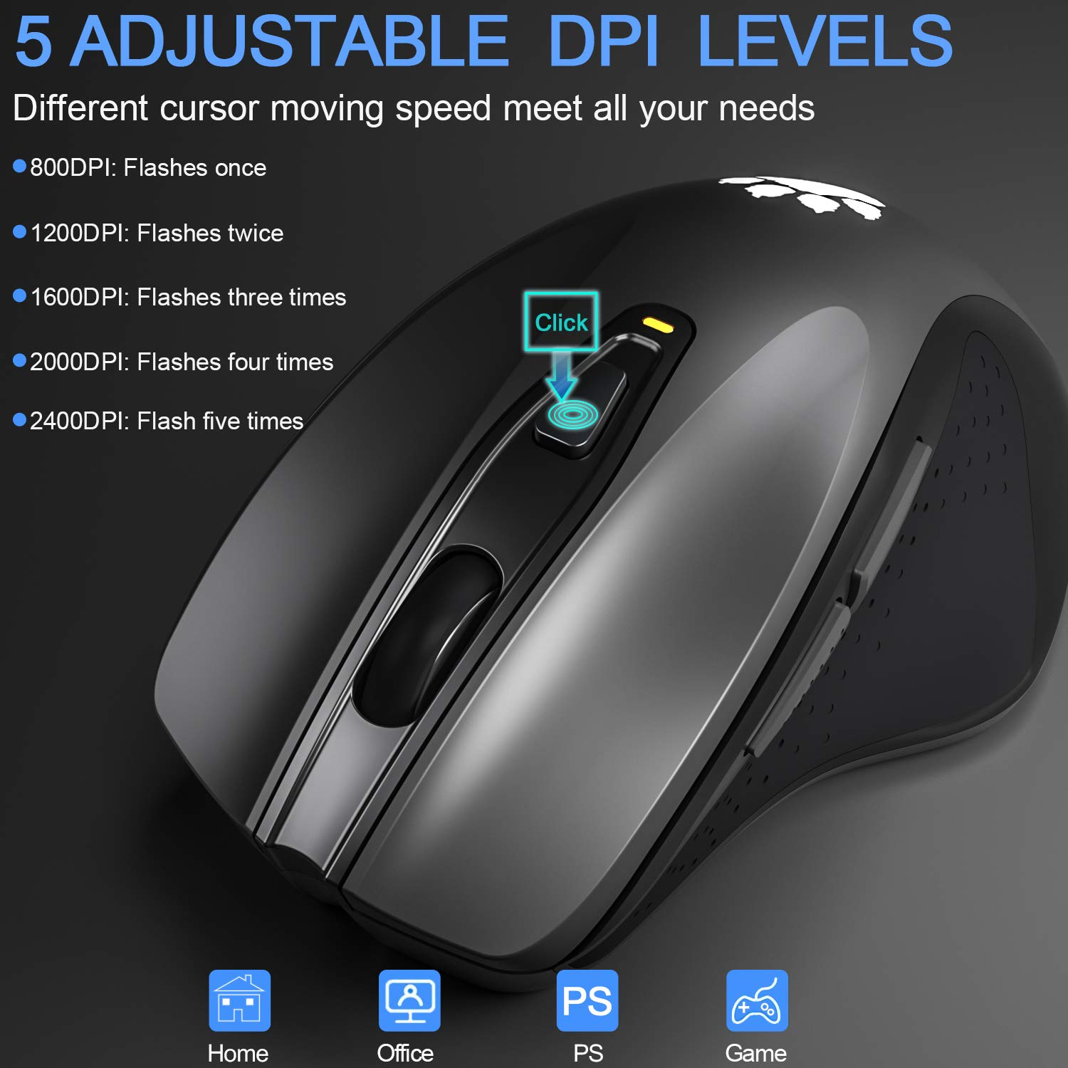 2.4G Wireless Mouse Portable Mobile Optical Mice with Nano USB Receiver 2400DPI 6 Buttons for Notebook PC Laptop Computer MacBook, Black