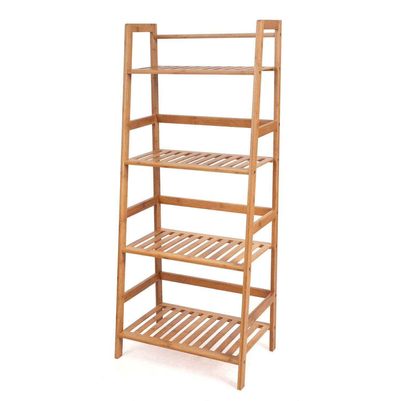 HOMFA Bamboo 4 Shelf Bookcase, Multifunctional Ladder-Shaped Plant Flower Stand Rack Bookrack Storage Shelves by Homfa