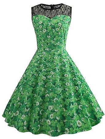 Frauen Frisches Grün Kleeblatt Druck Kostüm Kleid St. Patricks\'Tag ...