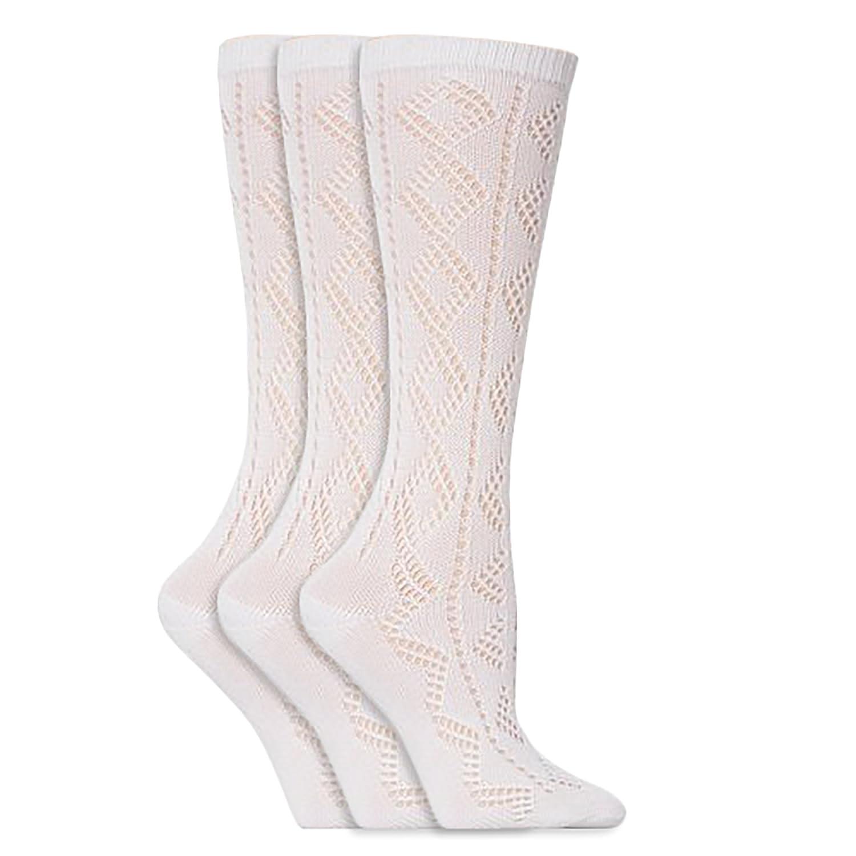 Mädchen Spitzen-Kniestrümpfe, Weiß, Schulmädchen Socken (3 Paar) Weiß