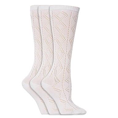 Calcetines blancos de uniforme escolar alto por la rodilla para niñas (pack de 3): Amazon.es: Ropa y accesorios