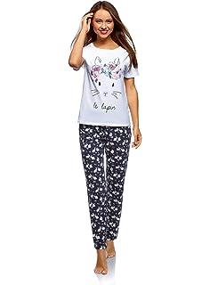 oodji Ultra Mujer Pijama de Algodón con Pantalones: Amazon.es ...