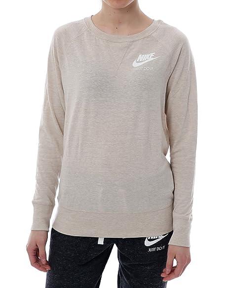 Nike Gym Vintage Crew – Sudadera para mujer, beige / blanco
