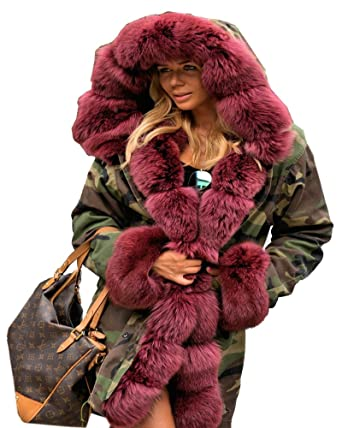 e285955df96c3 Aofur Women Military Camouflage Winter Fur Parka Thicken Warm Coat Jacket  Casual Oversize Hooded Outerwear Trench