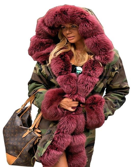 hot sales 239fd 82360 Aofur Damen Wintermantel Jacke Kunstfell Winterjacke Lange Kapuze Parka  Elegant Jacke 36 38 40 44 44 46 48 50
