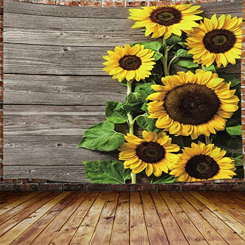 JAWO Sunflower Tapestry, Yellow Flora Flower on Wooden Board Large Tapestry Wall Hanging for Bedroom, Rustic Farmhouse Tapestry Beach Blanket College Dorm Home Decor 90 W X 70 H
