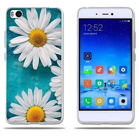FUBAODA Funda Xiaomi Mi5S Carcasa Ultra Fino de Cristal Claro, Encantador Dibujo de Margaritas, Duradera, Suave, [Protección con Goma Funda para ...
