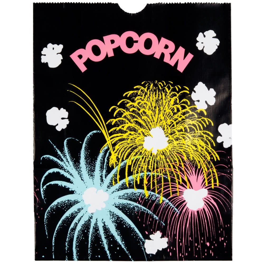 300450 7 1/2'' x 3 1/2'' x 9'' 130 oz. Funburst Design Popcorn Bag - 500/Case By TableTop King by TableTop King