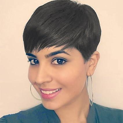 Eseewigs 100% Real Virgen Remy cabello humano parte libre corto peluca con estilo con flequillo
