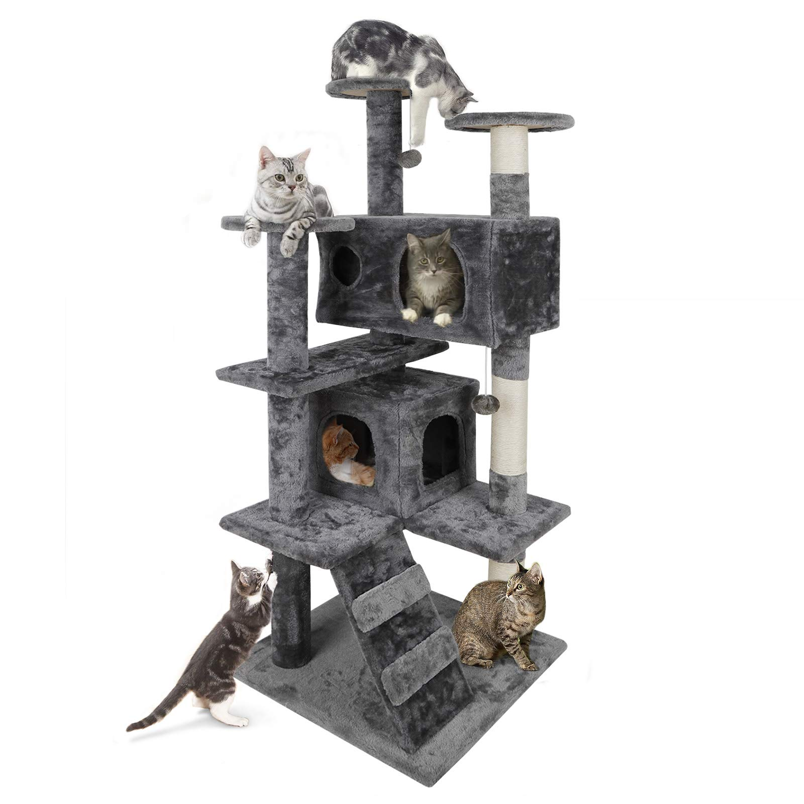 Nova Microdermabrasion 53'' Multi-Level Cat Tree Stand House Furniture Kittens Activity Tower with Scratching Posts Kitty Pet Play House (Grey) by Nova Microdermabrasion