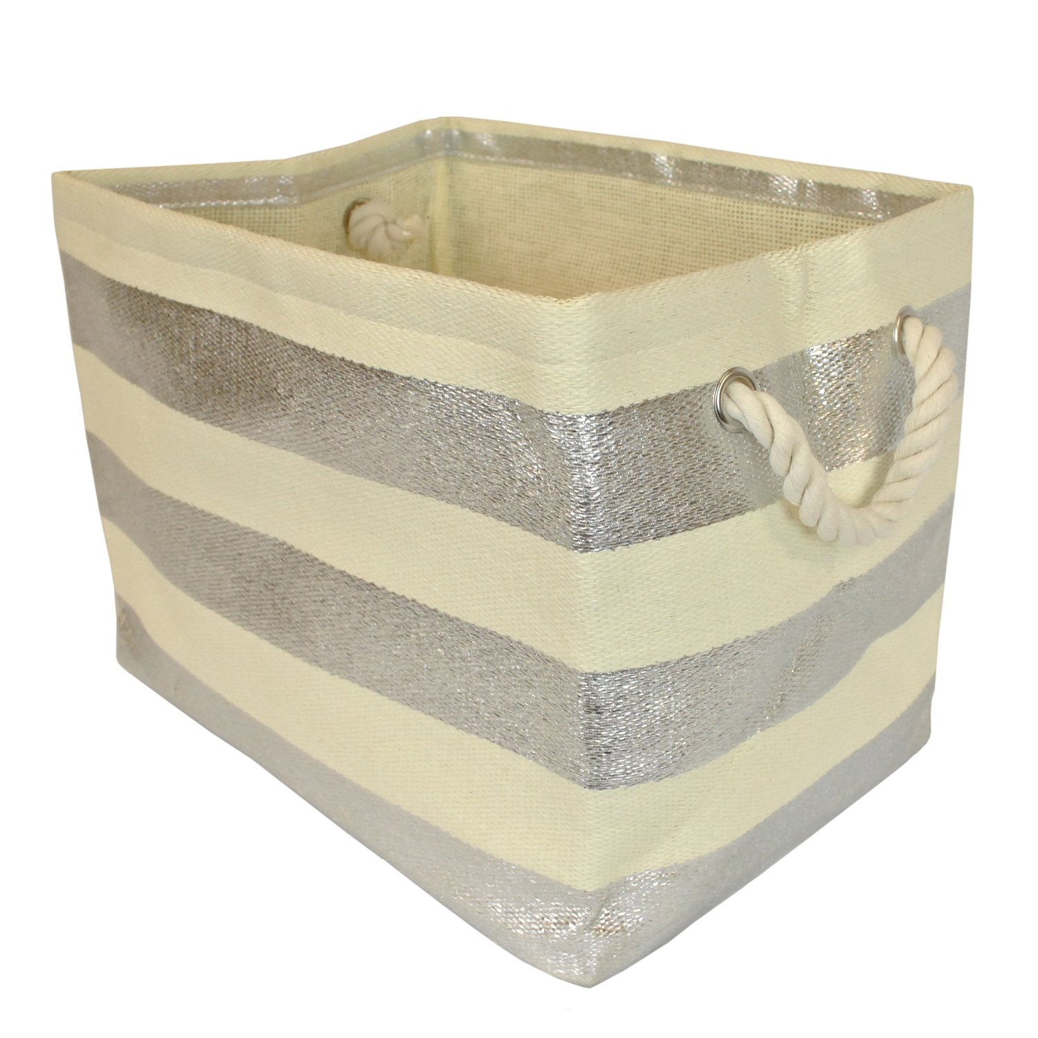 DII Woven Paper Storage Basket or Bin, Collapsible & Convenient Home Organization Solution for Office, Bedroom, Closet, Toys, Laundry (Small - 11x10x9�), Silver Rugby Stripe
