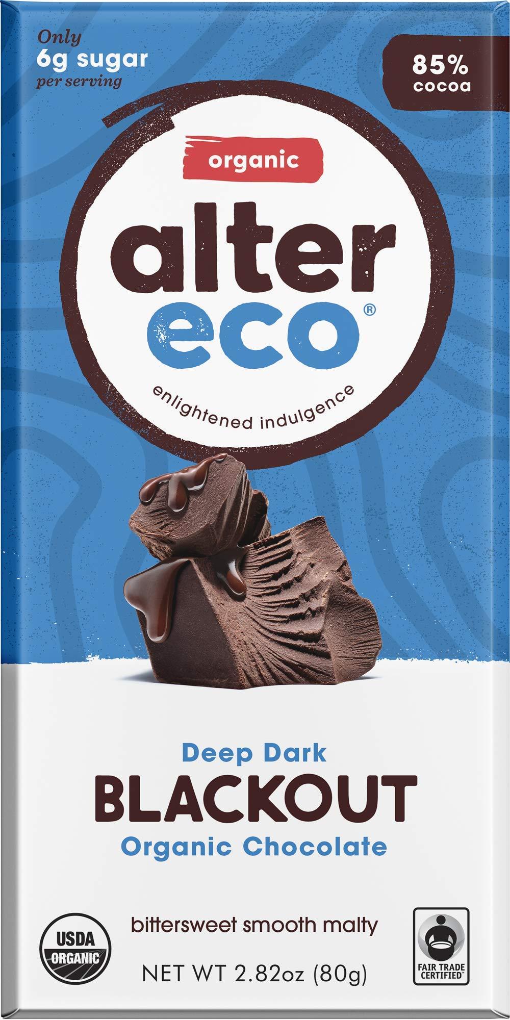 Alter Eco   Dark Blackout   85% Pure Dark Cocoa, Fair Trade, Organic, Non-GMO, Gluten Free Dark Chocolate Bar, 12 Bars