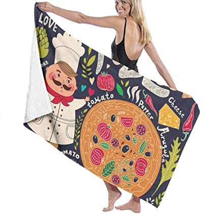1c43ad771e Image Unavailable. Image not available for. Color  Chef Pizza Prints Bath  Towel Wrap Womens ...